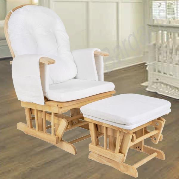 Wooden Rocking Chair  Ottoman Sliding Glider Baby Breast