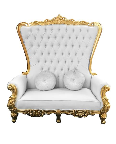 white and gold chair party banquet covers double high back queen throne in leather frame details about