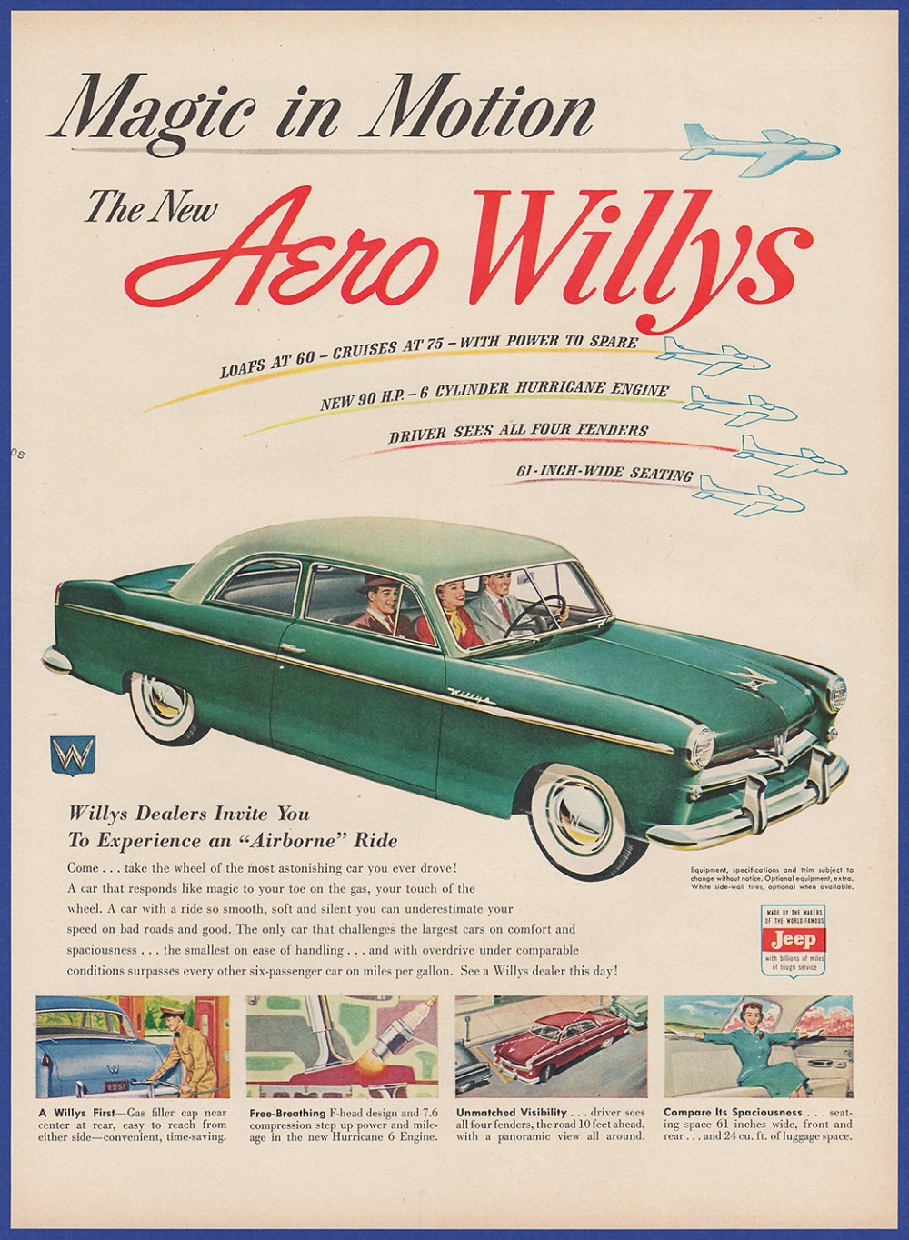 medium resolution of details about vintage 1952 aero willys automobile car jeep art decor ephemera print ad 50 s