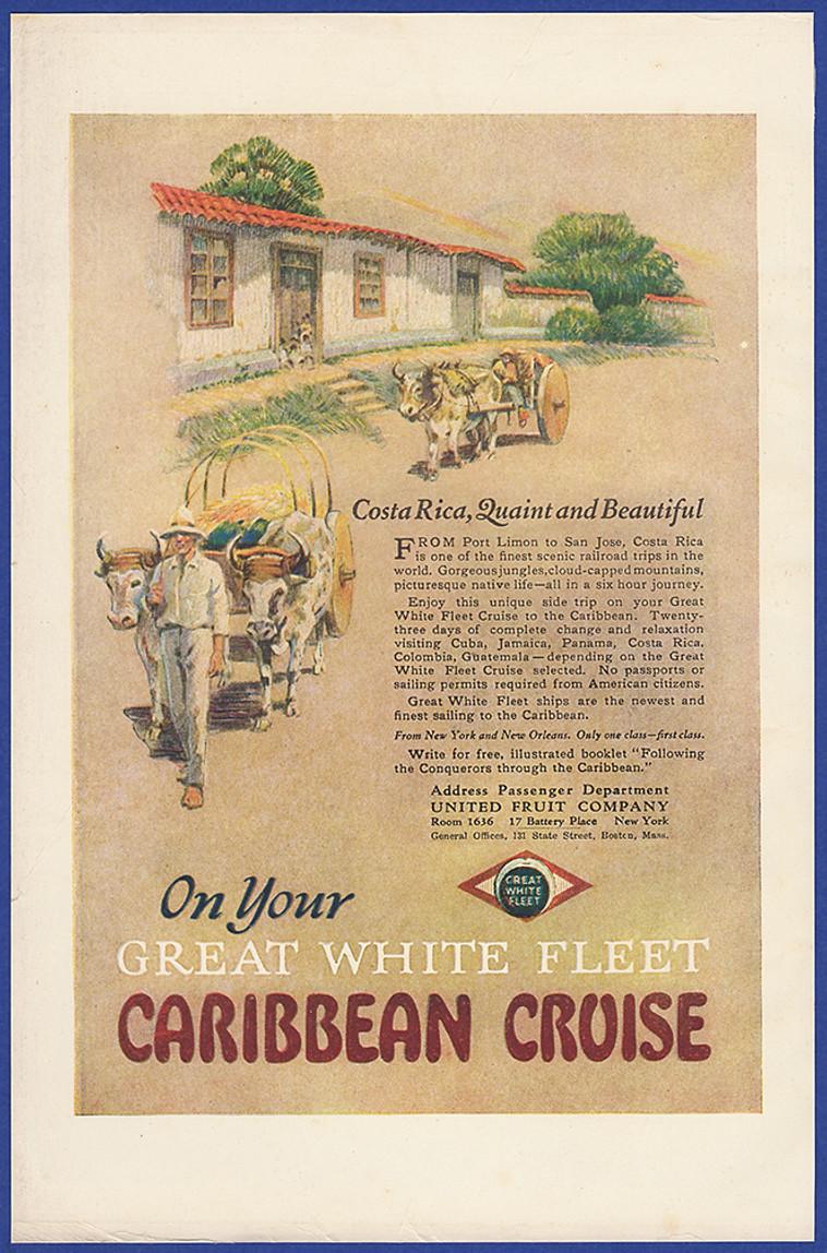 Vintage 1922 Great White Fleet Caribbean Cruise Costa Rica Vacation Print Ad Ebay