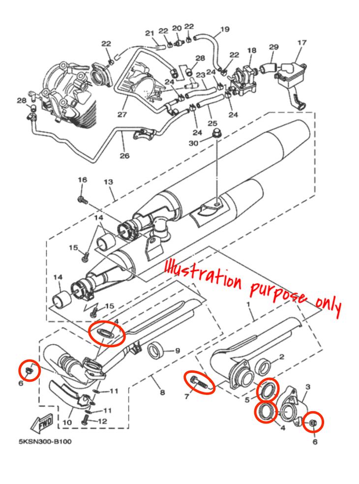 Exhaust Manifold Gasket Repair Set Yamaha XVS1100 1999