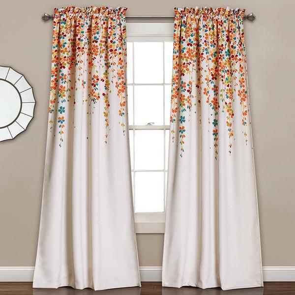 set 2 blue orange white floral vines