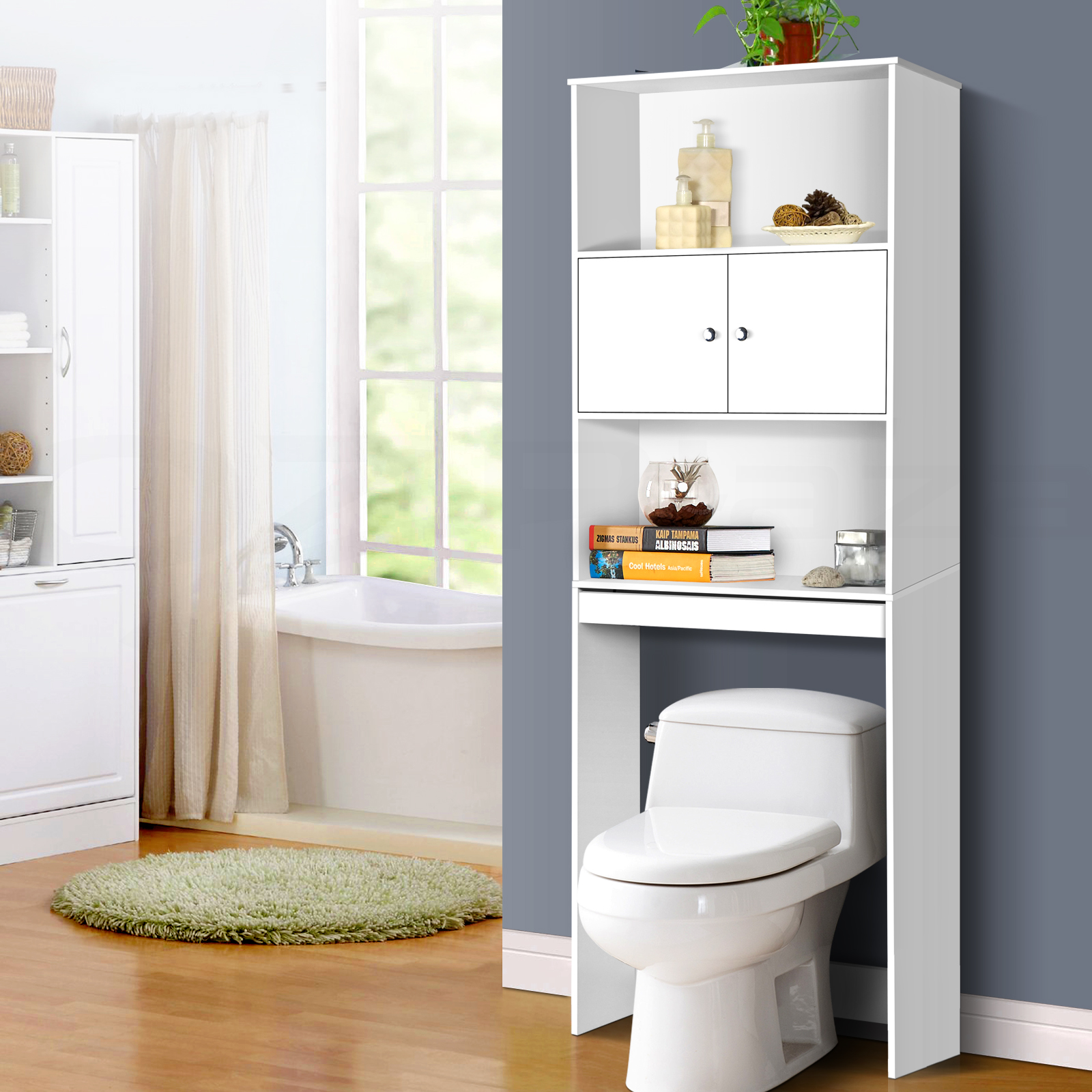 Over The Toilet Storage Unit White Bathroom Furniture Cupboard Shelf Cabinet 9350062137086 Ebay