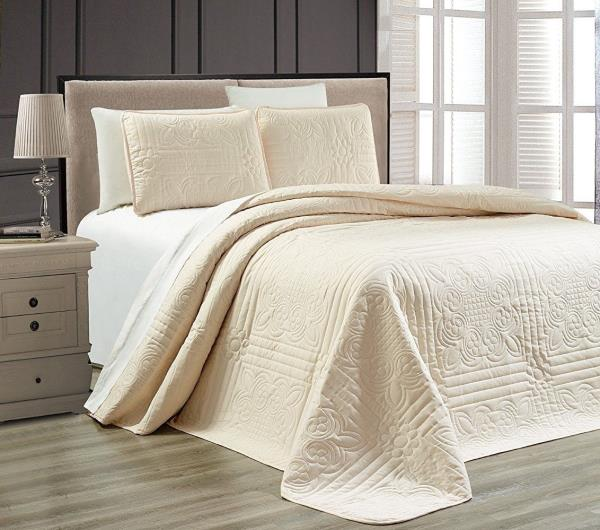 details about full queen cal king solid ivory cream 3 pc quilt set coverlet bedspread bedding