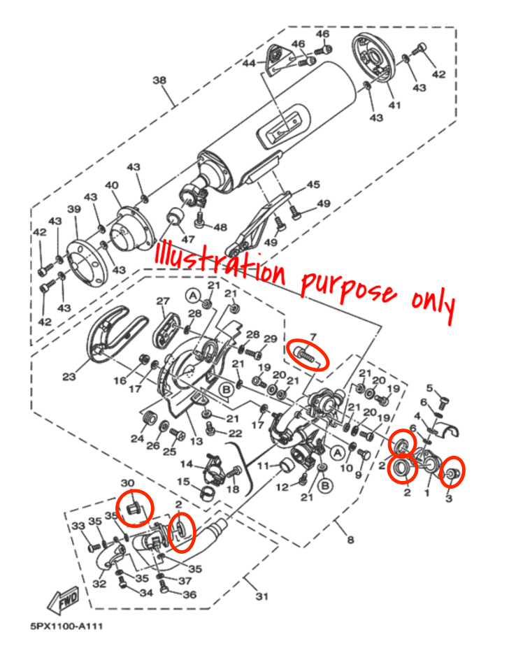 Exhaust Manifold Gasket Repair Set Yamaha XV1700 Road Star