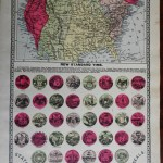 Time Zone Map Of United States C 1892 Standard National Time W 38 State Seals Ebay