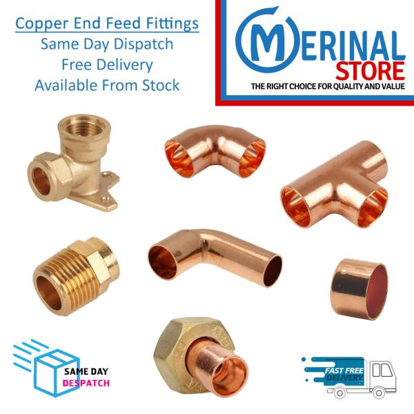 Copper Pipe Fittings End Feed Connectors Solder Plumbing 10mm 15mm 22mm 28mm Ebay