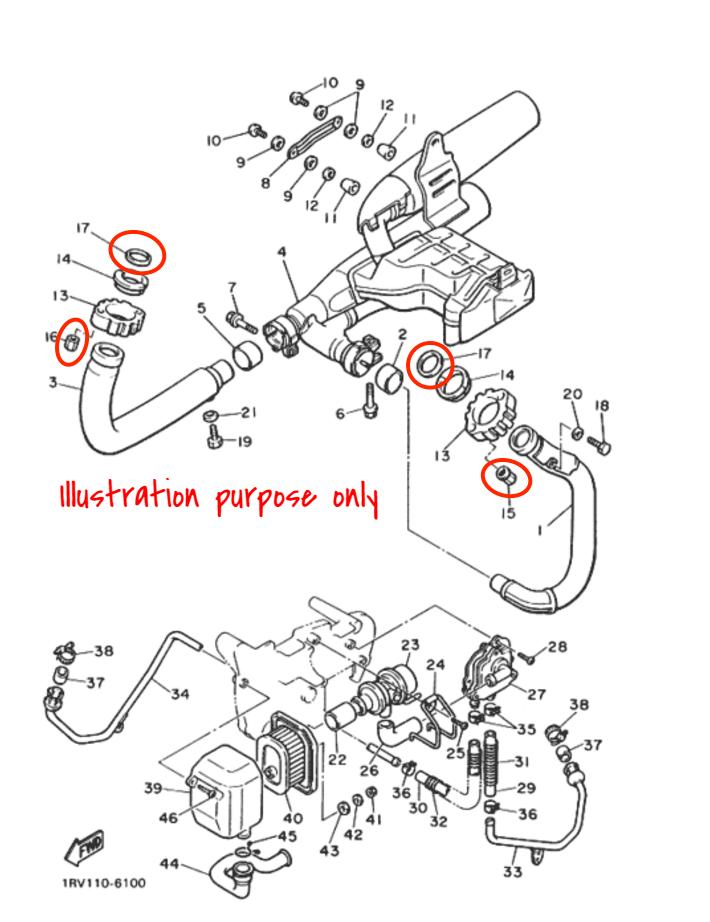 Exhaust Manifold Gasket Repair Set Yamaha XV700 XV750