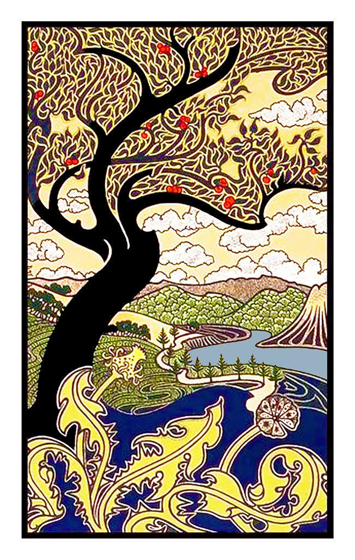 Art Nouveau Tree Of Life Stained Glass Hanging Windows Decor