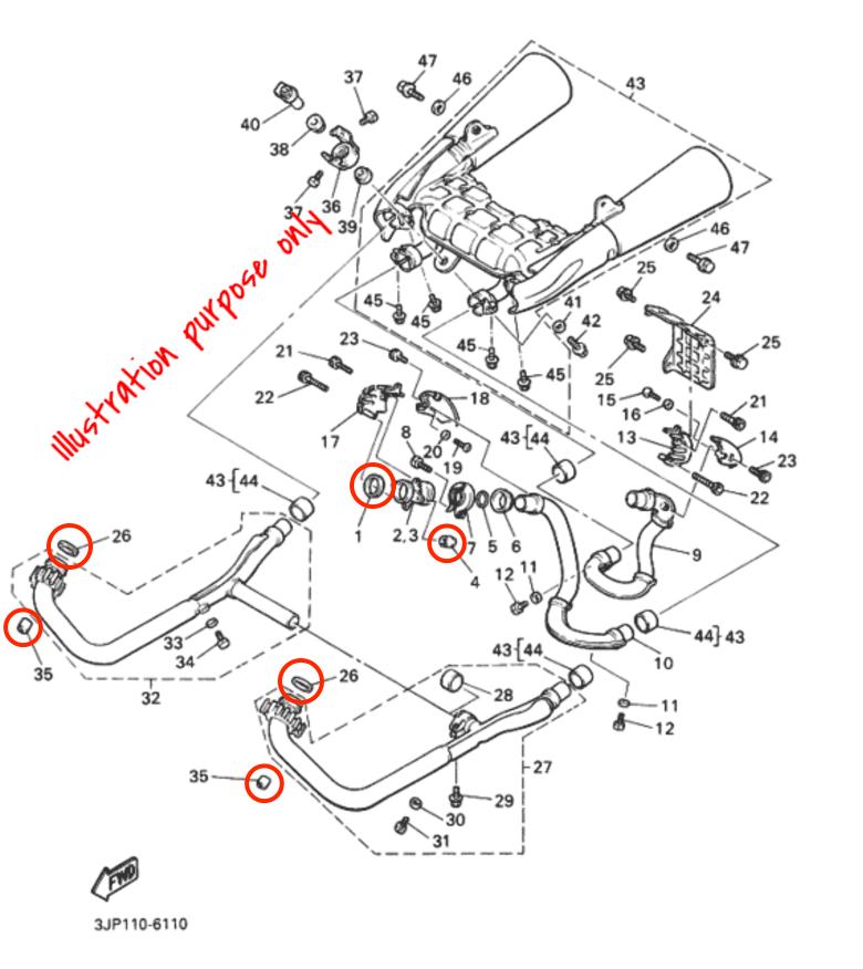 Exhaust Manifold Gasket Repair Set Yamaha V-Max 1200 1988