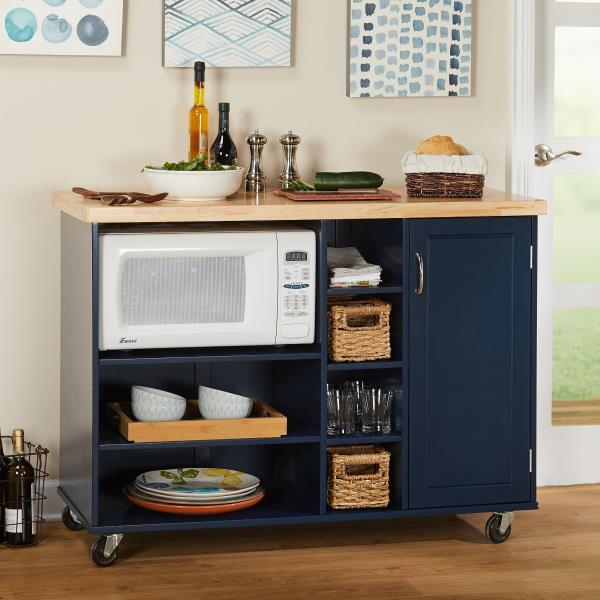 details about navy blue wood kitchen island rolling microwave cart storage prep table trolley