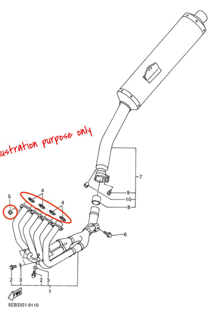Exhaust Manifold Gasket Repair Set Yamaha FZ6, XJ6N/F/S