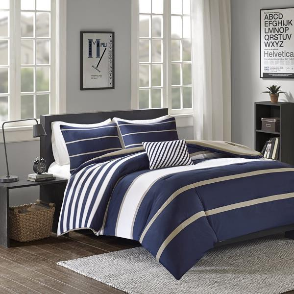 details about navy blue tan white stripe 4pc comforter set twin xl full queen cal king bedding