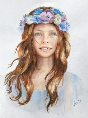 put face in girl with flower