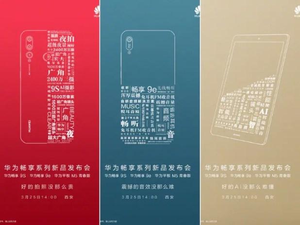 Huawei Enjoy 9S 9e M5 Tablet teasers Weibo Huawei Enjoy 9S 9e M5