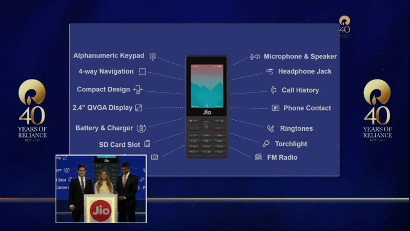 JioPhone Specifications Features Launched Mukesh Ambani JioPhone specifications price launch