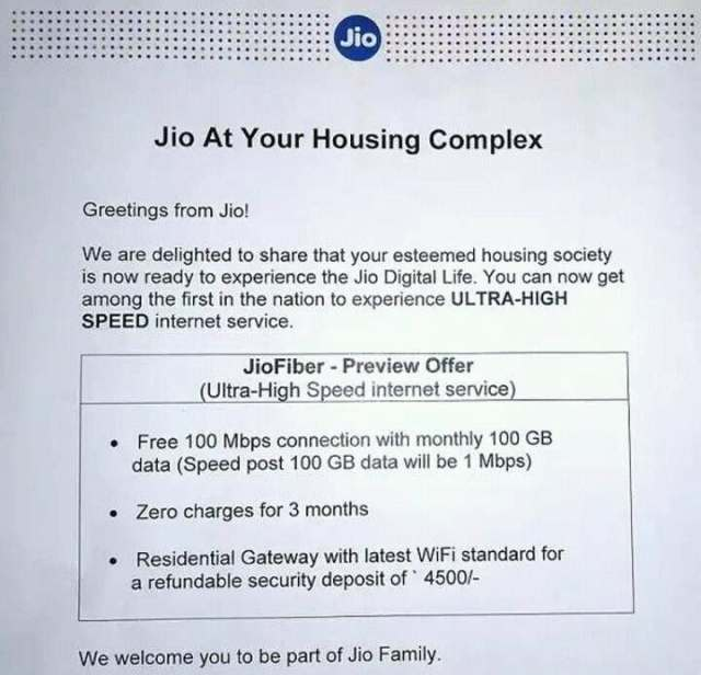 Reliance Jio JioFiber Home Broadband Reliance Jio JioFiber Home Broadband Trials