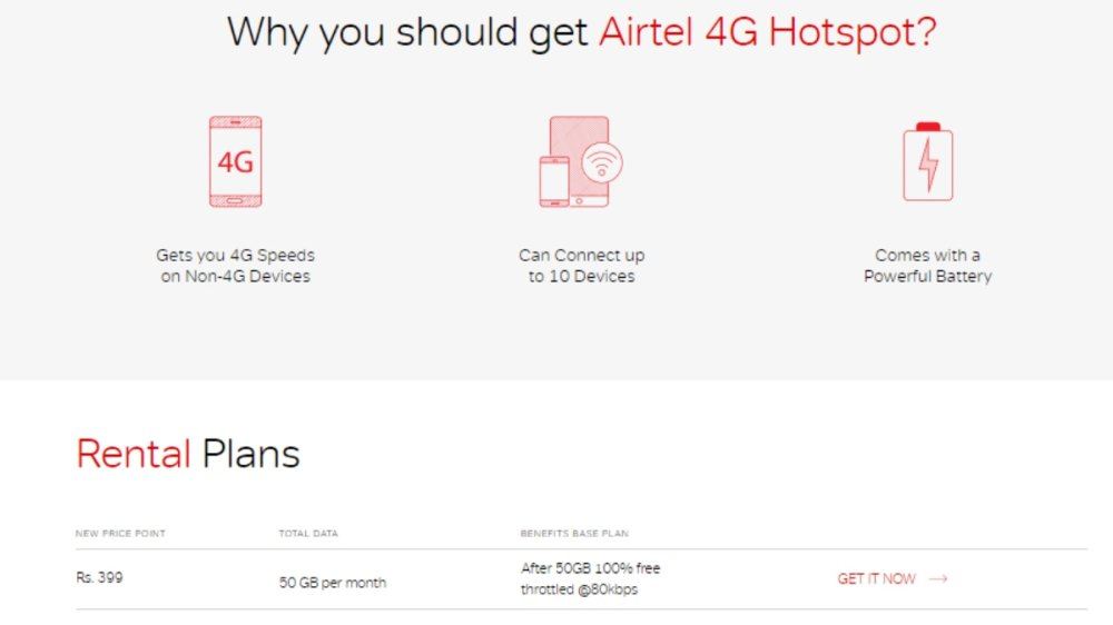 medium resolution of airtel 4g hotspot with 50gb monthly data now priced at rs 399 per month