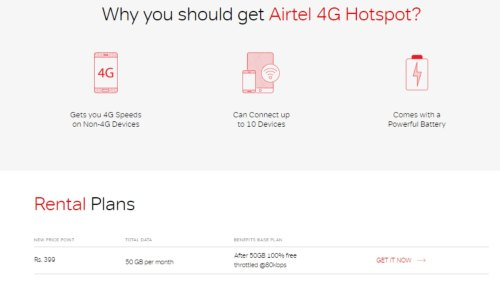 small resolution of airtel 4g hotspot with 50gb monthly data now priced at rs 399 per month