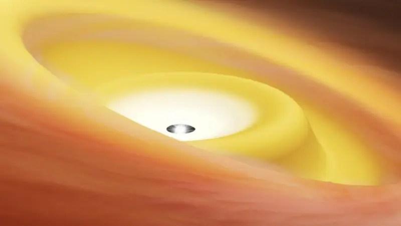 نجمة الشباب مع القرص مشوها يلقي الضوء على المدارات الكوكبية محاذاة