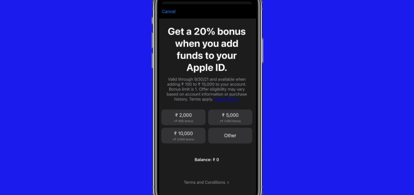 Apple Giving 20 Percent More on Funds Added Directly to Apple ID in India