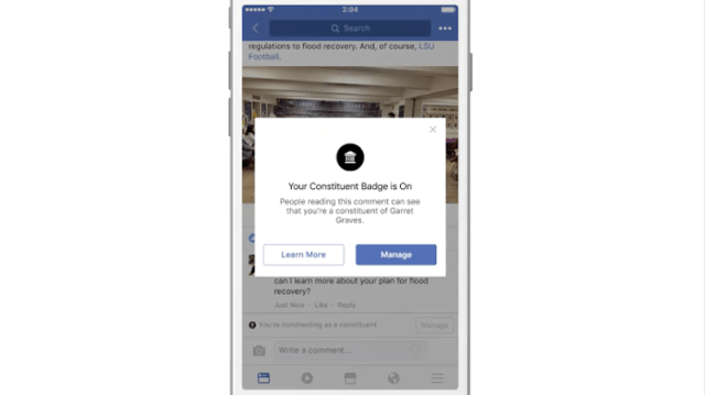 Facebook Launches Features to Connect US Users to Elected Officials