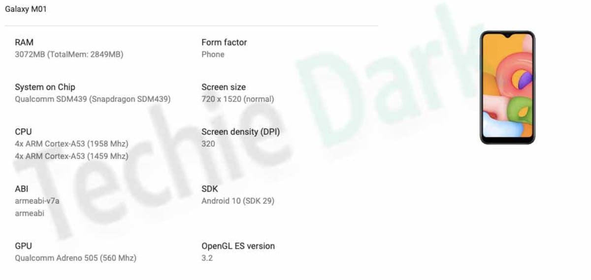 Samsung Galaxy M01 Reportedly Spotted on Google Play