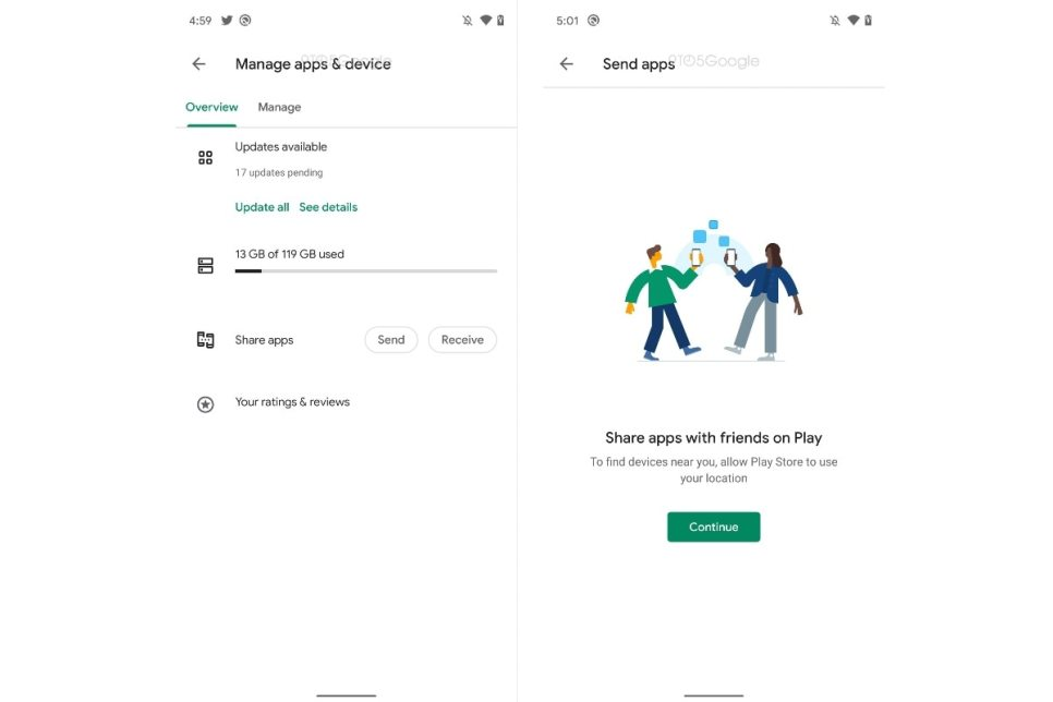 google play store peer to peer app sharing screenshots 9to5google Google Play
