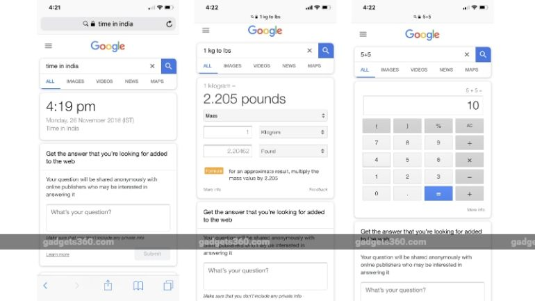 Google Search Direct Search Results Start Rolling Out on Mobile, Hide Web Results for Certain Queries