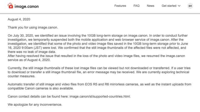 image canon outage note image Canon