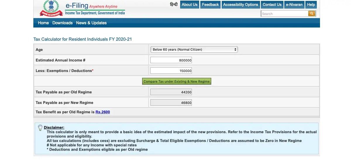 income tax india efiling tax calculator 20201 itr