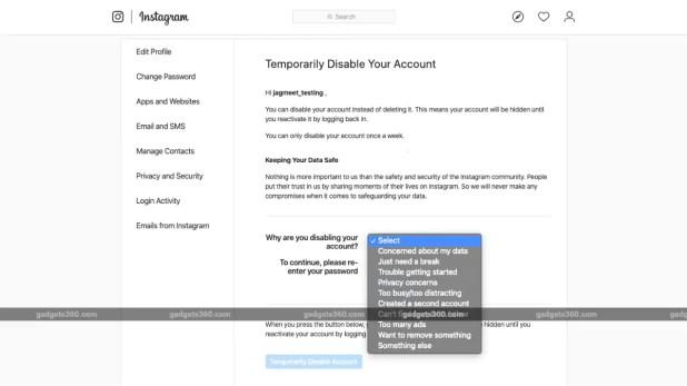 instagram temporarily deactivate account screenshot gadgets 360 Instagram