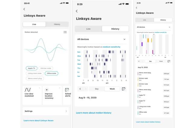 linksys aware app screenshots Linksys Aware  Linksys