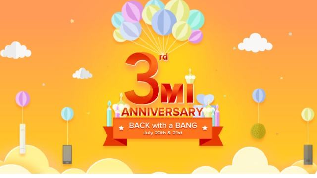 Xiaomi's 3rd Mi Anniversary Sale Begins Thursday, Features Re.1 Flash Sale, and More