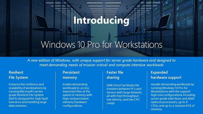 Windows 10 Pro for Workstations Unveiled by Microsoft, Available This Fall