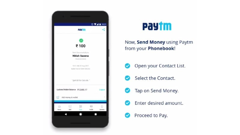Paytm for Android Now Allows Users to Send Contacts Money