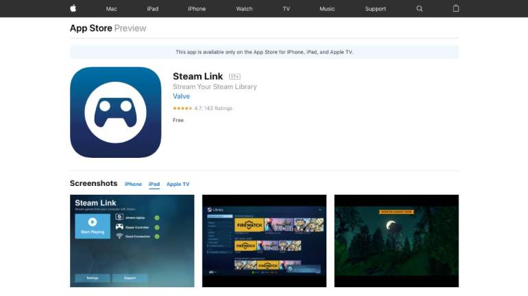 Steam Link Game Streaming App Now Available for iPhone, iPad