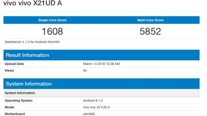 vivo x21 geekbench inline Vivo X21 Geekbench