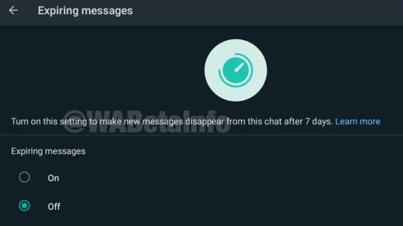 whatsapp expiring messages feature screenshot wabetainfo WhatsApp