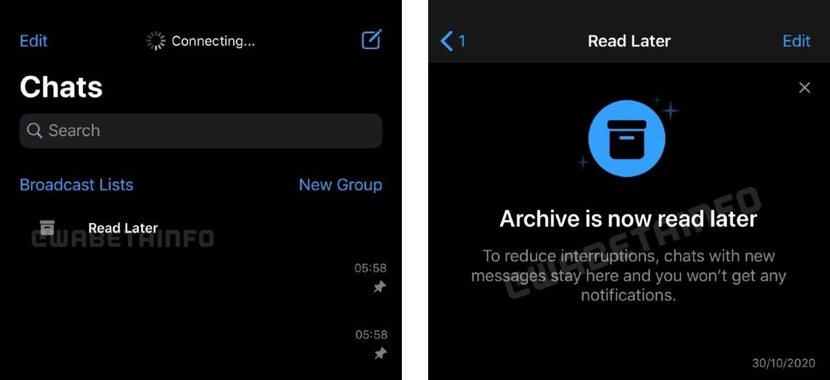 whatsapp iphone read later update screenshots wabetainfo WhatsApp