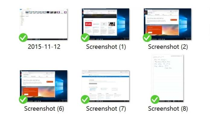 windows 10 screenshot folder Windows 10