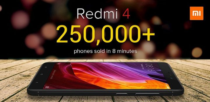Xiaomi Redmi 4 First Sale in India Sees 250,000 Units Sold in 8 Minutes