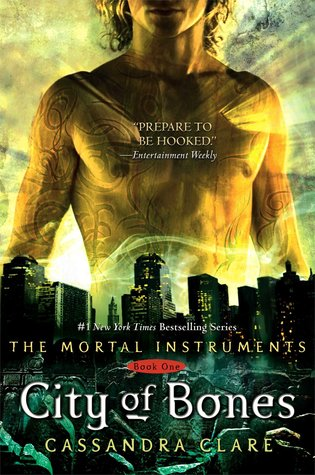 Tattooed man chest over cityscape and bones City of Bones book cover