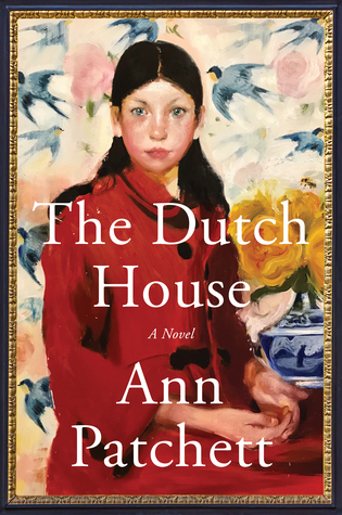 'The Dutch House, A Novel, Ann Patchett' written in white text. A woman with long, dark hair and a red coat sitting down. Several birds are flying in the background.   Fine name: https://i0.wp.com/i.gr-assets.com/images/S/compressed.photo.goodreads.com/books/1552334367l/44318414.jpg?w=620&ssl=1