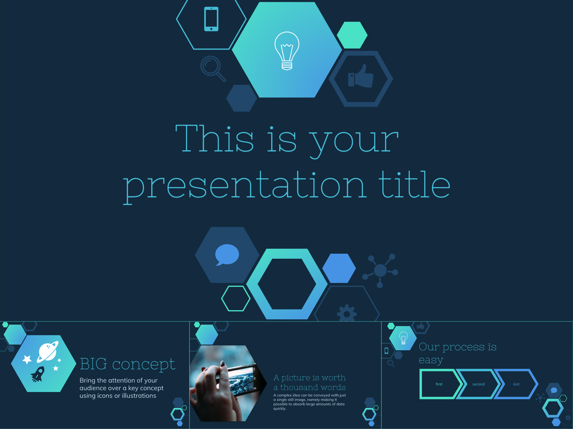Trendy Free Google Slides Template with Hexagons and Icons - The Internet Tips