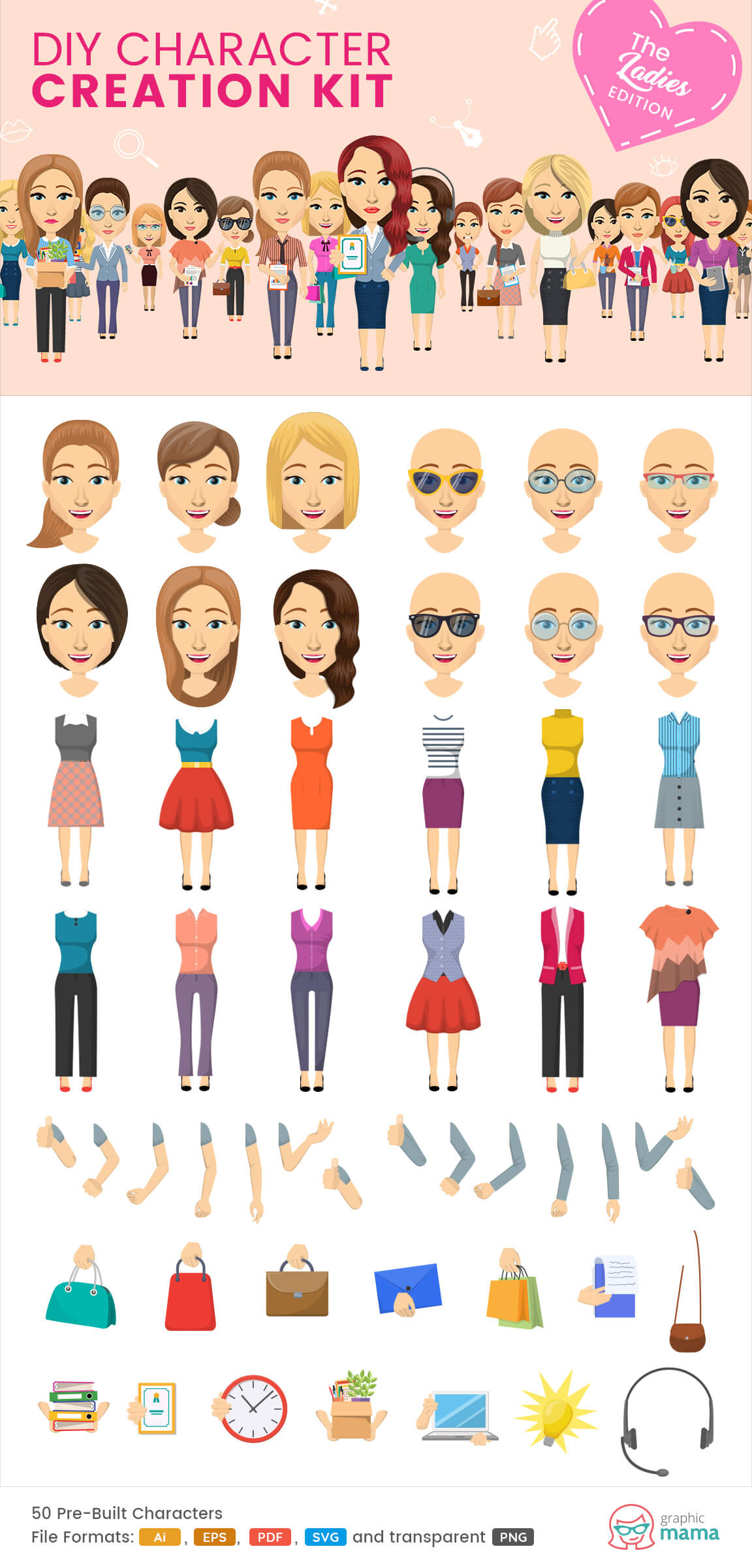 40 Diy Vector Kits To Create Your Own Character In Adobe