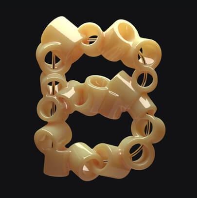 Macaronni B letter creative typography design