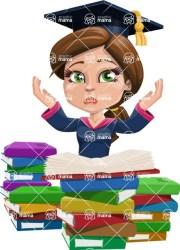 Cute Graduation Girl Cartoon Vector Character 112 Illustrations / Study 2 GraphicMama