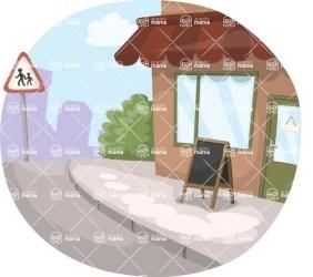 Restaurant Street View Vector Cartoon GraphicMama