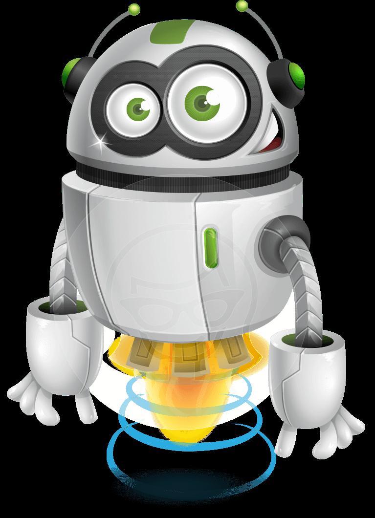flying robot cartoon vector